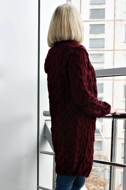 Кардиган вязанный короткий Коса Лало NEW color бордо, фото 3