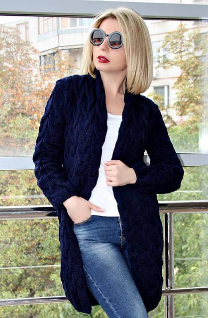 Кардиган вязанный короткий Коса Лало NEW color темно-синий, фото 1