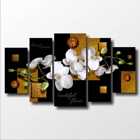 "Модульная картина ""Орхидеи и золото"""