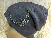 Шапочка женская  украшенная камнями цвет св коричневый