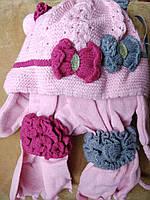 Шапка+шарфик детская зимняя. Польша . 2-3 годика