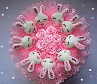 """Букет из мягких игрушек """"Розовые сны"""", диаметр 43 см"""