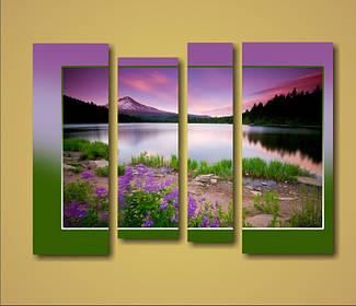 """Модульна картина """"Захід сонця в горах"""""""