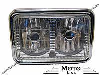 Фара в сборе на мопед DELTA квадратная на 2 лампы Mototech