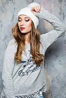 Теплая зимняя женская белая шапка 17134