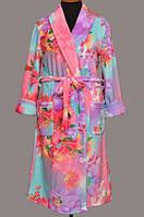Женский махровый халат на поясе теплый домашний зимний велсофт мягкий махровый без капюшона