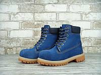 Женские зимние ботинки Timberland 6 inch Blue Boots с натуральным мехом