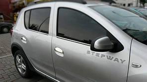 Комплект накладок (нерж.) на ручки дверей к Renault Sandero 2013+ гг.