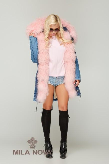 Зимняя женская джинсовая парка с натуральным розовым мехом ламы ТМ Mila Nova