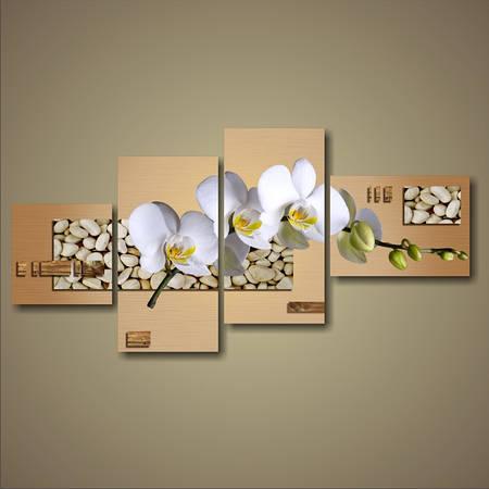 """Модульная картина """"Ветка белых орхидей"""""""
