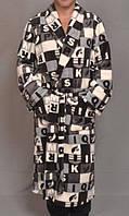 Теплый мужской халат махровый (велсофт) зимний большой халатпояс на запах без капюшона