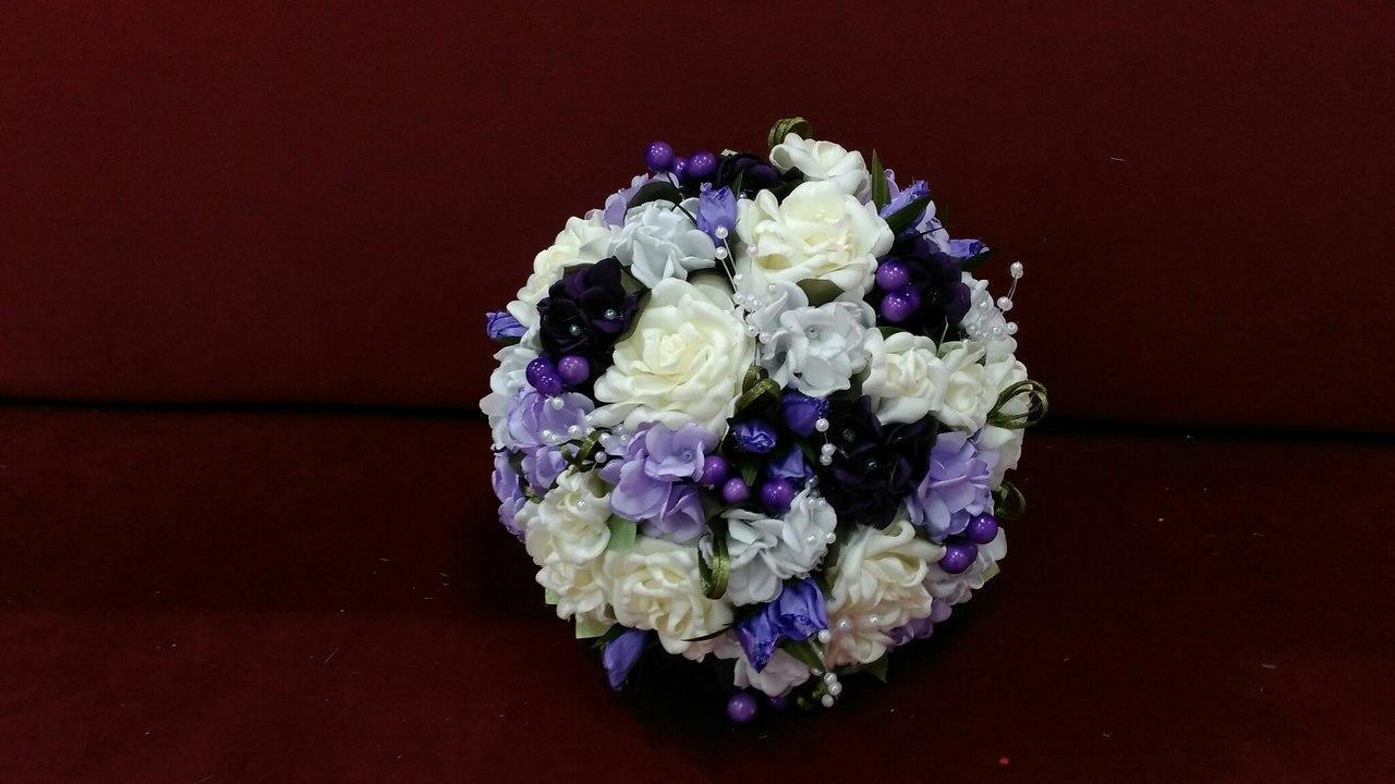 Свадебный букет-дублер в бело-фиолетовых тонах
