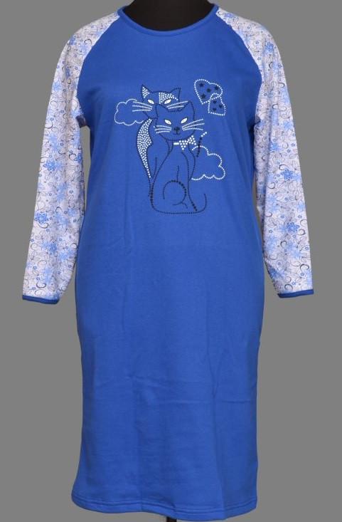 Теплая длинная ночная сорочка женская (ночнушка) хлопковая с начесом трикотажная длинный рукав (Украина)