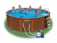 Каркасный бассейн Intex-интекс 54968 (хлоргенератор +Песочный фильтрующий насос)  569 см х 135 см киев