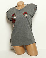 Женская стильная футболка вышивка