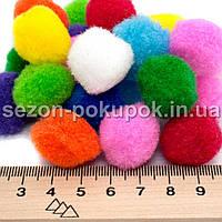 БОЛЬШИЕ (≈2,5см) Помпоны для творчества, диаметр 17-20мм (240-250шт) Цвета-МИКС