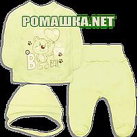 Костюмчик (комплект) на выписку р. 56 для новорожденного демисезонный ткань ИНТЕРЛОК 100% хлопок 3770 Желтый