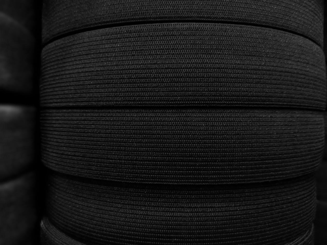 Резинка текстильная черная плотная 7 см, 25м