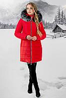Женская зимняя молодежная куртка Флорида с капюшоном / размер 44-54 / цвет красный серый мех