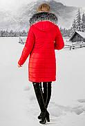 Женская зимняя молодежная куртка Флорида с капюшоном / размер 50 / цвет красный серый мех, фото 3