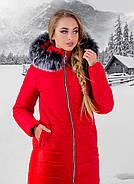 Женская зимняя молодежная куртка Флорида с капюшоном / размер 50 / цвет красный серый мех, фото 4
