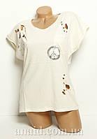 Женская стильная футболка вышивка. камни