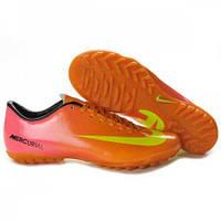 Футбольные бутсы Nike Mercurial Vapor 9 TF (бутсы найк меркуриал) розово-оранжевые