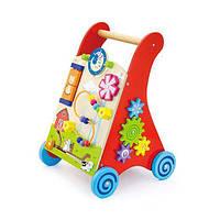 Деревянные ходунки-каталка Viga Toys, детский развивающий, игровой центр из дерева, бизиборд