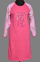 Теплая байковая пижама длинная сорочка домашняя ночнушкаженская хлопковая с начесом трикотажная