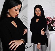 Женский тонкий асимметричный свитер с чокером на шее, женские свитера оптом, фото 3