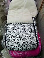 Конверт в санки и коляску на овчине 2 в 1. Конверт+вкладыш. белый со звездами