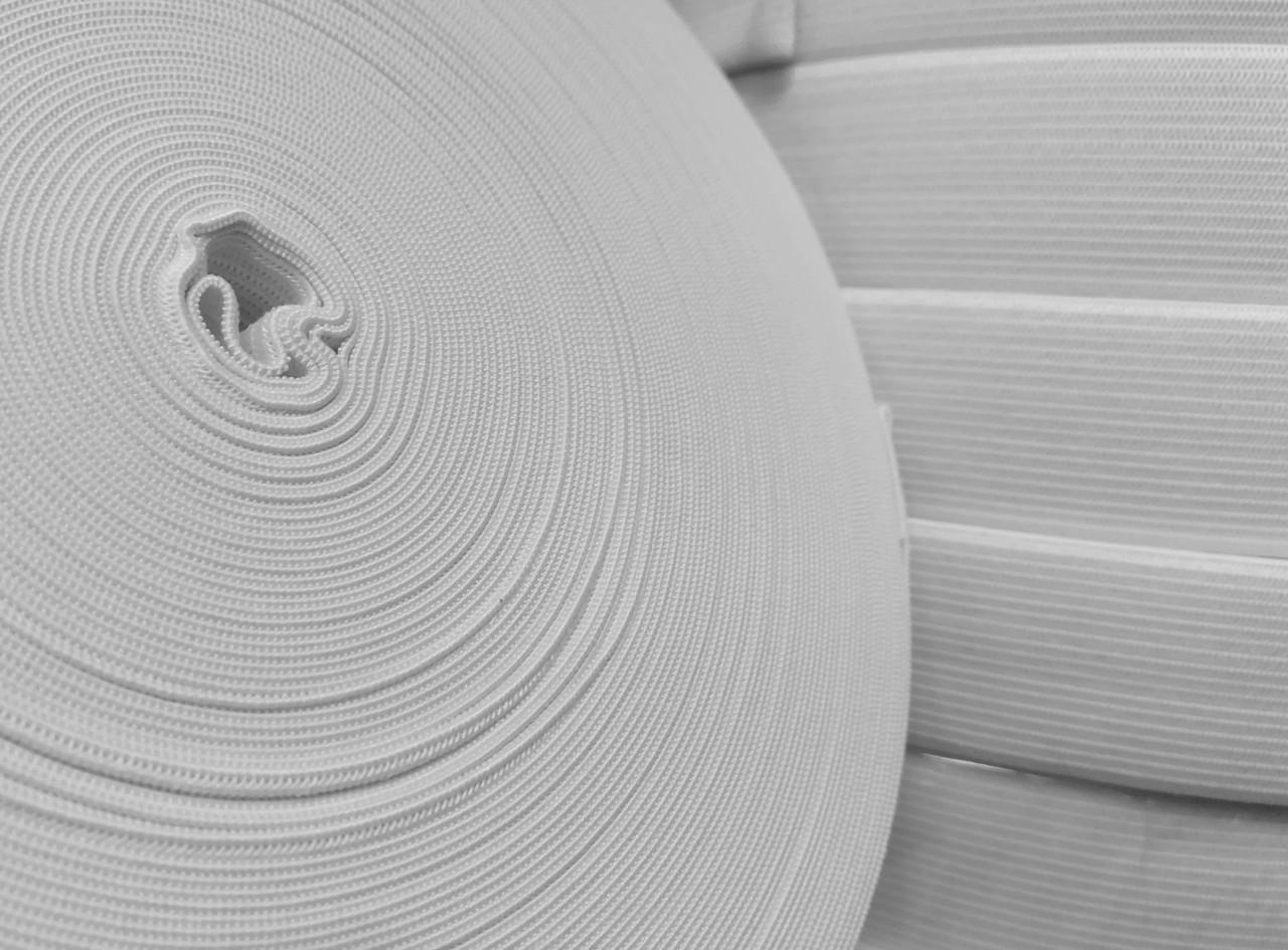 Резинка текстильная белая плотная 7 см, 25м