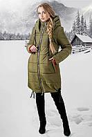 Женская зимняя удлиненная куртка Лиана с капюшоном / размер 44-54 / цвет хаки