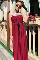 Женское стильное платье в пол с кружевом БАТАЛ