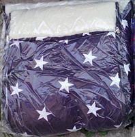 Конверт в санки и коляску на овчине 2 в 1. Конверт+вкладыш. фиолетовый со звездами