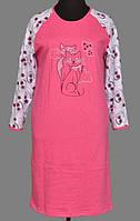 Теплая длинная ночная сорочка женская (ночнушка) большого размера хлопковая с начесом длинный рукав (Украина)