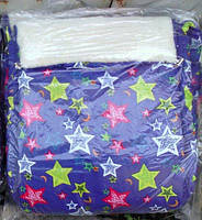 Конверт в санки и коляску на овчине 2 в 1. Конверт+вкладыш. синий с цветными звездами