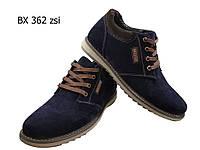 Ботинки мужские зимние  натуральная замша синие на шнуровке (362), фото 1