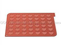 """Силіконовий килимок для макаронс """"Серця"""" 42 осередки - 300х400х1,5 мм – Ø 35 мм"""
