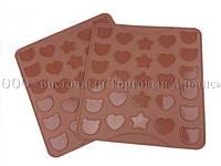 Силиконовый коврик для печенья Макаронс Мишки, Звёзды и Сердца, фото 1