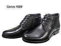 Ботинки мужские зимние  натуральная кожа черные на шнуровке (4589ш)