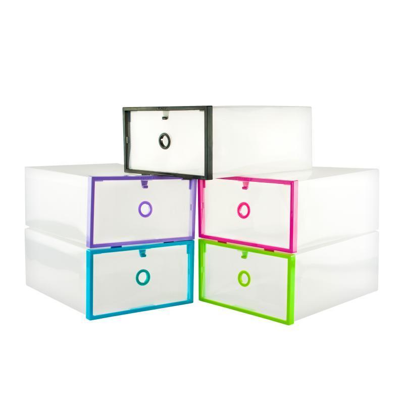 Пластиковый контейнер для обуви - (органайзер для обуви) Розовый