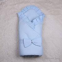 """Конверт-одеяло """"Мария"""" с капюшоном хб (голубой)"""