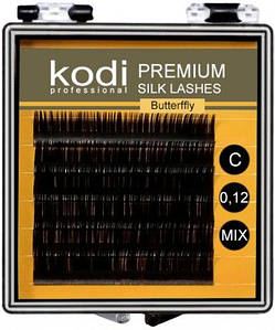 Ресницы для наращивания Kodi Professional Butterfly, C-0.12 (6 рядов: 8/9/10 мм.) черные