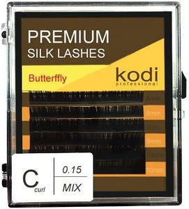Ресницы для наращивания Kodi Professional Butterfly, C-0.15 (6 рядов: 8/9/10 мм.) черные