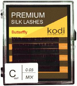 Ресницы для наращивания Kodi Professional Butterfly, C-0.05 (6 рядов: 11/12/13 мм.) черные