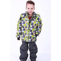 Детский комбинезон на зиму раздельный серый квадраты термо для мальчика