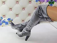 Серые модные велюровые сапоги-чулки,ботфорты.Реплика Вайцман