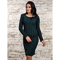 Женское вязанное платье 50247(т.зеленый)