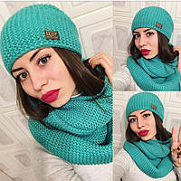 """Модный, зимний, женский комплект шапка + снуд """"Крупная вязка, с фирменным значком""""  РАЗНЫЕ ЦВЕТА"""